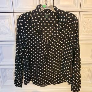 J.Crew black and white polka dot blouse size med